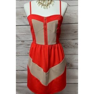 NWOT C. Luce Tan & Red Chevron Dress Medium